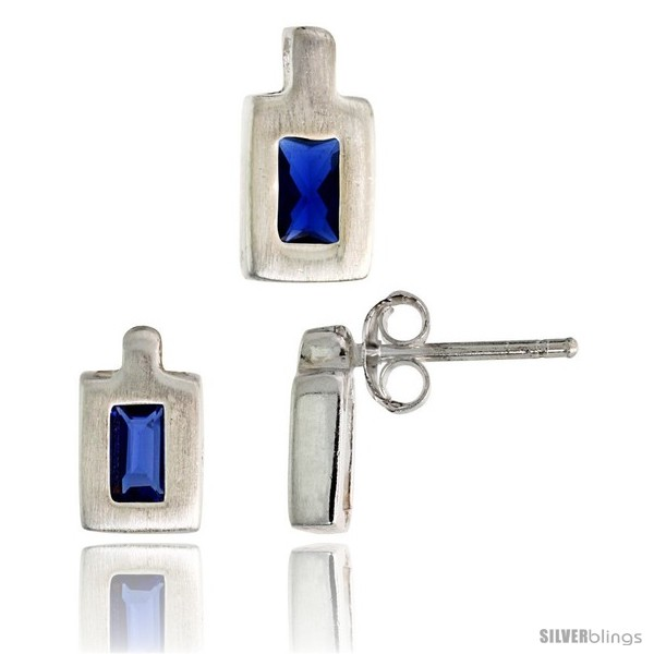 https://www.silverblings.com/18317-thickbox_default/sterling-silver-matte-finish-rectangular-earrings-9mm-tall-pendant-11mm-tall-set-w-emerald-cut-blue-sapphire-colored-cz.jpg