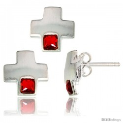 Sterling Silver Matte-finish Greek Cross Earrings (10mm tall) & Pendant Slide (10mm tall) Set, w/ Princess Cut Ruby-colored CZ