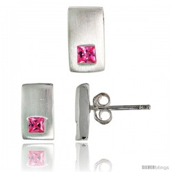 Sterling Silver Matte-finish Rectangular Earrings (10mm tall) & Pendant Slide (10mm tall) Set, w/ Princess Cut Pink