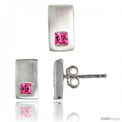 Sterling Silver Matte-finish Rectangular Earrings (10mm tall) & Pendant Slide (10mm tall) Set, w/ Princess Cut Pink