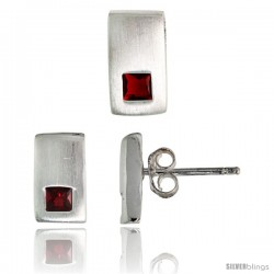 Sterling Silver Matte-finish Rectangular Earrings (10mm tall) & Pendant Slide (10mm tall) Set, w/ Princess Cut Ruby-colored CZ