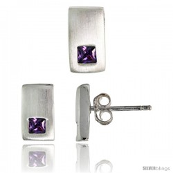 Sterling Silver Matte-finish Rectangular Earrings (10mm tall) & Pendant Slide (10mm tall) Set, w/ Princess Cut Amethyst-colored