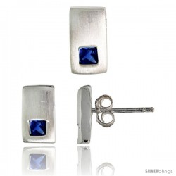 Sterling Silver Matte-finish Rectangular Earrings (10mm tall) & Pendant Slide (10mm tall) Set, w/ Princess Cut Blue