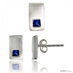 Sterling Silver Matte-finish Rectangular Earrings (10mm tall) & Pendant Slide (10mm tall) Set, w/ Princess Cut Blue