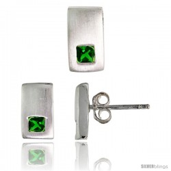 Sterling Silver Matte-finish Rectangular Earrings (10mm tall) & Pendant Slide (10mm tall) Set, w/ Princess Cut Emerald-colored
