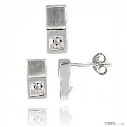 Sterling Silver Matte-finish Fancy Earrings (10mm tall) & Pendant Slide (12mm tall) Set, w/ Princess Cut CZ Stones