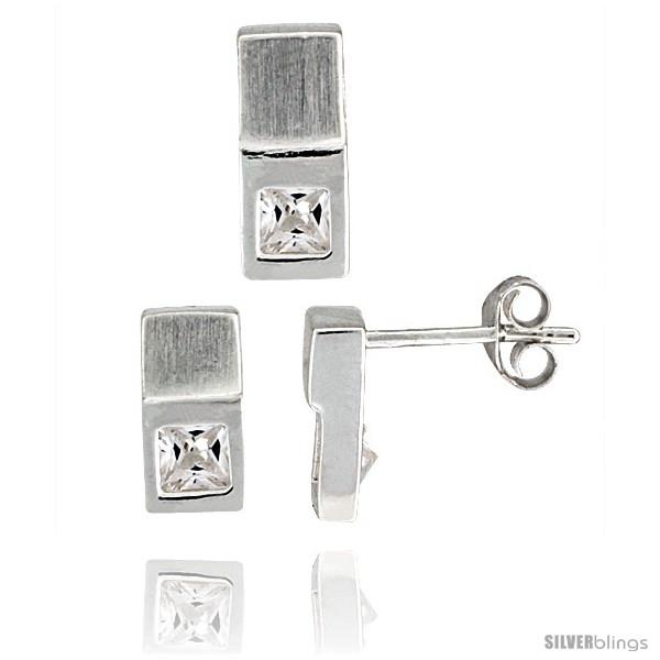 https://www.silverblings.com/18335-thickbox_default/sterling-silver-matte-finish-fancy-earrings-10mm-tall-pendant-slide-12mm-tall-set-w-princess-cut-cz-stones.jpg