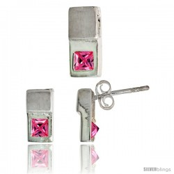 Sterling Silver Matte-finish Fancy Earrings (10mm tall) & Pendant Slide (12mm tall) Set, w/ Princess Cut Pink