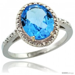 Sterling Silver Diamond Natural Swiss Blue Topaz Ring 2.4 ct Oval Stone 10x8 mm, 1/2 in wide -Style Cwg04111
