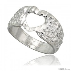 Sterling Silver Textured Heart Ring Polished finish 3/8 in wide
