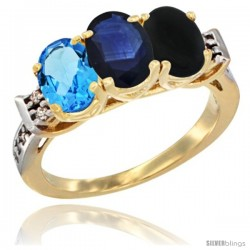 10K Yellow Gold Natural Swiss Blue Topaz, Blue Sapphire & Black Onyx Ring 3-Stone Oval 7x5 mm Diamond Accent