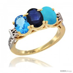 10K Yellow Gold Natural Swiss Blue Topaz, Blue Sapphire & Turquoise Ring 3-Stone Oval 7x5 mm Diamond Accent