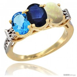 10K Yellow Gold Natural Swiss Blue Topaz, Blue Sapphire & Opal Ring 3-Stone Oval 7x5 mm Diamond Accent