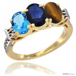 10K Yellow Gold Natural Swiss Blue Topaz, Blue Sapphire & Tiger Eye Ring 3-Stone Oval 7x5 mm Diamond Accent