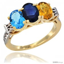 10K Yellow Gold Natural Swiss Blue Topaz, Blue Sapphire & Whisky Quartz Ring 3-Stone Oval 7x5 mm Diamond Accent