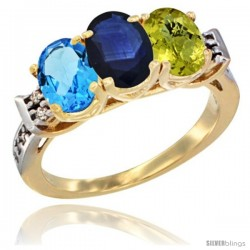 10K Yellow Gold Natural Swiss Blue Topaz, Blue Sapphire & Lemon Quartz Ring 3-Stone Oval 7x5 mm Diamond Accent