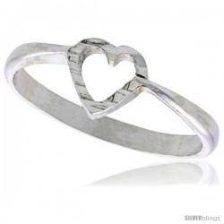 Sterling Silver Heart Ring Polished finish 1/4 in wide