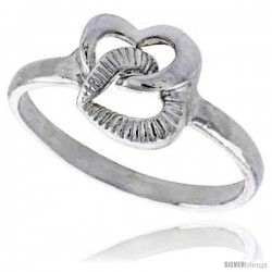 Sterling Silver Interlacing Hearts Ring Polished finish 3/8 in wide