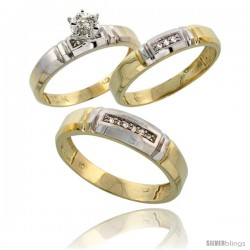 10k Yellow Gold Diamond Trio Wedding Ring Set His 5.5mm & Hers 4mm -Style 10y123w3