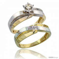 10k Yellow Gold Ladies' 2-Piece Diamond Engagement Wedding Ring Set, 1/4 in wide