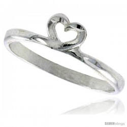 Sterling Silver Heart Ring Polished finish 1/4 in wide -Style Ffr450