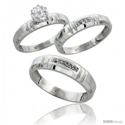10k White Gold Diamond Trio Engagement Wedding Ring 3-piece Set for Him & Her 4.5 mm & 4 mm wide 0.10 cttw B -Style 10w023w3
