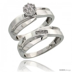 10k White Gold Diamond Engagement Rings Set 2-Piece 0.07 cttw Brilliant Cut, 1/4 in wide