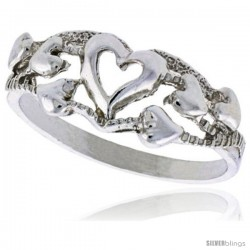 Sterling Silver Hearts Ring Polished finish 5/16 in wide