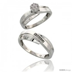 10k White Gold Diamond Engagement Rings 2-Piece Set for Men and Women 0.08 cttw Brilliant Cut, 6mm & 7mm wide