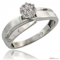 10k White Gold Diamond Engagement Ring 0.05 cttw Brilliant Cut, 1/4 in wide