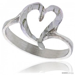 Sterling Silver Heart Ring Polished finish 7/16 in wide