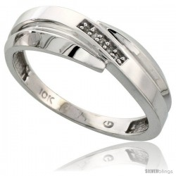 10k White Gold Mens Diamond Wedding Band Ring 0.03 cttw Brilliant Cut, 9/32 in wide