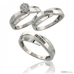 10k White Gold Diamond Trio Engagement Wedding Ring 3-piece Set for Him & Her 7 mm & 6 mm wide 0.10 cttw Brilliant Cut