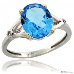 Sterling Silver Diamond Natural Swiss Blue Topaz Ring 2.4 ct Oval Stone 10x8 mm, 3/8 in wide