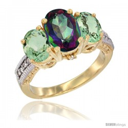 14K Yellow Gold Ladies 3-Stone Oval Natural Mystic Topaz Ring with Green Amethyst Sides Diamond Accent