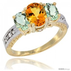 14k Yellow Gold Ladies Oval Natural Citrine 3-Stone Ring with Green Amethyst Sides Diamond Accent