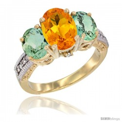 14K Yellow Gold Ladies 3-Stone Oval Natural Citrine Ring with Green Amethyst Sides Diamond Accent