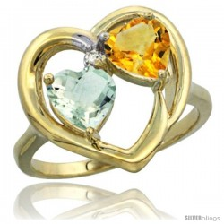 14k Yellow Gold 2-Stone Heart Ring 6mm Natural Green Amethyst & Citrine Diamond Accent, Diamond Accent