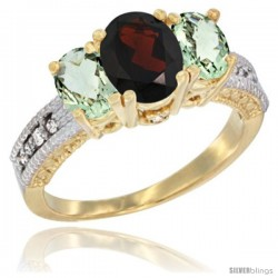 14k Yellow Gold Ladies Oval Natural Garnet 3-Stone Ring with Green Amethyst Sides Diamond Accent