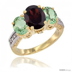 14K Yellow Gold Ladies 3-Stone Oval Natural Garnet Ring with Green Amethyst Sides Diamond Accent