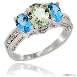 14k White Gold Ladies Oval Natural Green Amethyst 3-Stone Ring with Swiss Blue Topaz Sides Diamond Accent