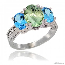 14K White Gold Ladies 3-Stone Oval Natural Green Amethyst Ring with Swiss Blue Topaz Sides Diamond Accent