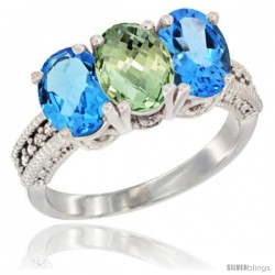 14K White Gold Natural Green Amethyst & Swiss Blue Topaz Sides Ring 3-Stone 7x5 mm Oval Diamond Accent