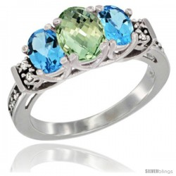 14K White Gold Natural Green Amethyst & Swiss Blue Topaz Ring 3-Stone Oval with Diamond Accent