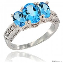 14k White Gold Ladies Oval Natural Swiss Blue Topaz 3-Stone Ring Diamond Accent
