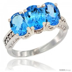14K White Gold Natural Swiss Blue Topaz Ring 3-Stone 7x5 mm Oval Diamond Accent