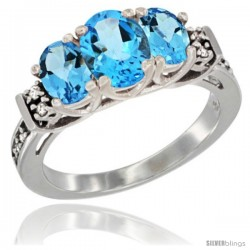 14K White Gold Natural Swiss Blue Topaz Ring 3-Stone Oval with Diamond Accent