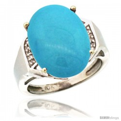 10k White Gold Diamond Sleeping Beauty Turquoise Ring 9.7 ct Large Oval Stone 16x12 mm, 5/8 in wide