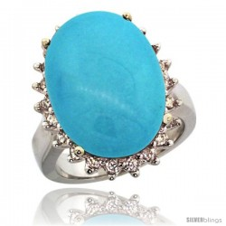 10k White Gold Diamond Halo Sleeping Beauty Turquoise Ring 10 ct Large Oval Stone 18x13 mm, 7/8 in wide