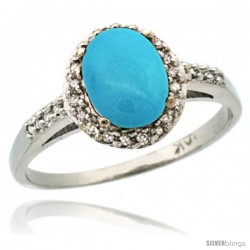 10k White Gold Diamond Sleeping Beauty Turquoise Ring Oval Stone 8x6 mm 1.17 ct 3/8 in wide